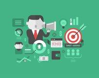 目标观众。数字式营销和广告概念 免版税库存图片