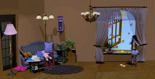 Κορίτσι που στέκεται σε ένα ντεμοντέ εκλεκτής ποιότητας δωμάτιο που γεμίζουν με τα παιχνίδια Στοκ εικόνες με δικαίωμα ελεύθερης χρήσης