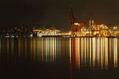 Λιμένας της νύχτας του Βανκούβερ Στοκ Φωτογραφίες