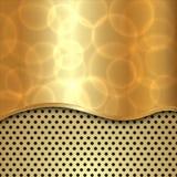 导航与曲线和细胞的抽象金背景 免版税图库摄影
