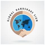 全球性握手摘要标志传染媒介设计 库存图片