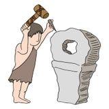 发明轮子的穴居人 免版税库存照片