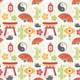 Восточная безшовная картина с азиатскими символами Стоковые Фотографии RF