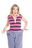 вес сярприза потери джинсыов Стоковое фото RF