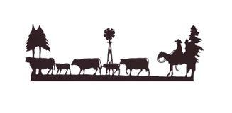 牛仔成群他的马的牛牛仔 免版税库存图片