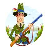 有步枪的猎人人在河背景 免版税库存照片