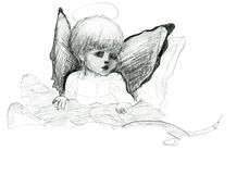 与翼的一点天使和光晕乱画铅笔剪影 免版税图库摄影