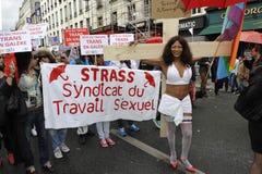 Εκδήλωση ημέρας Μαΐου, Παρίσι, εργαζόμενοι φύλων Στοκ Φωτογραφίες