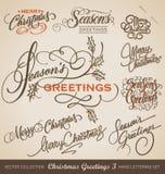 圣诞节被设置的手字法(传染媒介) 库存照片