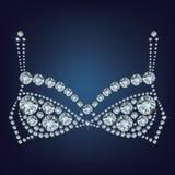 Сияющий бюстгальтер составил много диаманты Стоковое фото RF