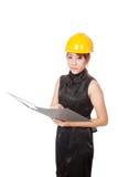 亚裔建筑师女孩在坏心情举行文件夹 库存图片