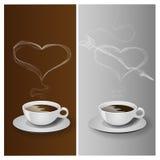 有心脏的咖啡杯 免版税图库摄影