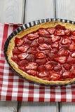 在方格的红色和白色桌布的草莓馅饼 免版税库存图片