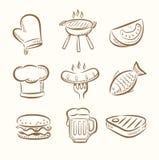 Комплект значка барбекю Стоковые Изображения