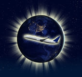 运输概念(从美国航空航天局使用的有些元素) 免版税库存照片