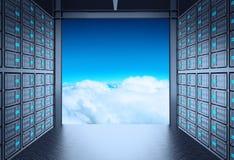 τρισδιάστατο δωμάτιο κεντρικών υπολογιστών δικτύων Στοκ Φωτογραφία