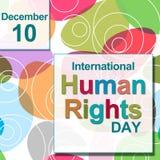国际人权日五颜六色的圈子 免版税库存图片