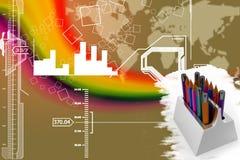Σύνολο μολυβιών στην απεικόνιση κατόχων Στοκ Εικόνα