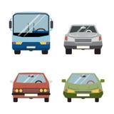Ретро иллюстрация вектора плоского автомобиля установленная значками Стоковое фото RF