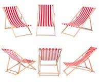 在白色隔绝的海滩睡椅 免版税图库摄影