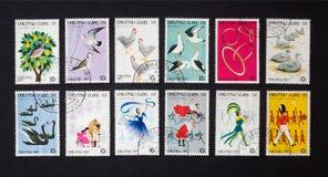 Δώδεκα ημέρες των Χριστουγέννων στα γραμματόσημα Στοκ Εικόνες