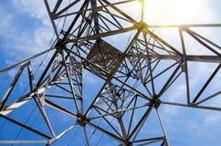 结构的看法在输电塔下的 免版税库存图片