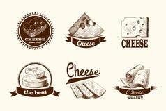 乳酪剪影标签 免版税库存照片