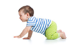 滑稽的爬行的男婴 免版税库存图片
