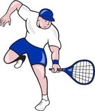 网球员球拍动画片 免版税图库摄影
