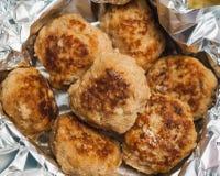 肉鱼圆炸肉排板材  免版税库存照片