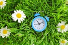 在绿草的蓝色时钟 免版税库存照片