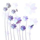 与花和蝴蝶的抽象五颜六色的背景 库存照片