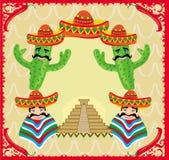 Μεξικάνικο πλαίσιο με την πυραμίδα, τον κάκτο και το σομπρέρο Στοκ Εικόνες