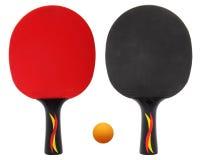 两乒乓球,在白色隔绝的乒乓球球拍 免版税库存图片
