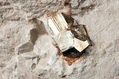 立方体硫铁矿 免版税图库摄影