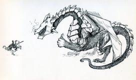 Дракон держа принцессу и глумясь рыцарь Стоковое фото RF
