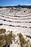 西班牙小山白色海滩黑色在兰萨罗特岛晃动 免版税图库摄影