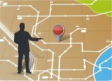 指向地点的地图和具体化 例证 免版税库存照片