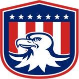 Αμερικανική φαλακρή ασπίδα σημαιών αετών επικεφαλής αναδρομική Στοκ Εικόνες