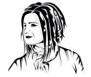 Сторона девушки татуировки Стоковое Изображение