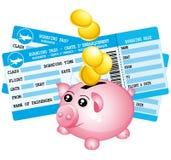 两蓝色登舱牌和存钱罐象 免版税库存图片