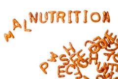 字母表椒盐脆饼和词被隔绝的营养不良 免版税库存照片