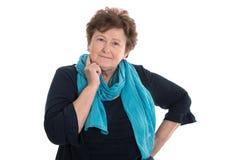 Портрет старшей женщины изолировал женщину изолированную над белизной Стоковая Фотография