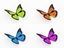 四在白色上色了蝴蝶被隔绝 库存照片