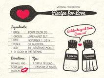 Рецепт для приглашения свадьбы влюбленности творческого Стоковые Изображения RF