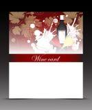 Рогулька шаблона для карточки вина с стеклами и бутылками Стоковое Фото