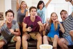 观看体育的朋友庆祝目标 免版税库存图片