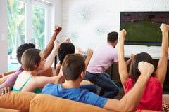 朋友观看足球庆祝目标的小组 库存照片
