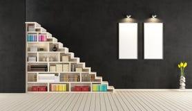有木楼梯的现代黑室 库存图片