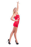 Танцы женщины в красном изолированном платье Стоковые Фотографии RF